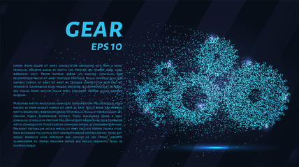 Gears of blue glowing dots. Gears of particles.