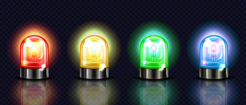 Siren lights vector illustration of red, yellow or green and blue alarm lamps or police and ambulance emergency flashers. Isolated realistic 3D alert beacons set on dark transparent background