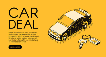 Car trade deal vector illustration of automotive sell and buy service agency or dealer company. Automobile and key on keychain isometric black thin line web design on yellow halftone background