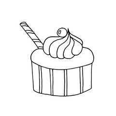 Hand drawn cupcake on white background.