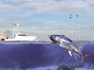 Cathing tuna fish, fisherman in sport fishing boat holding big game fishing rod and reel 3d render