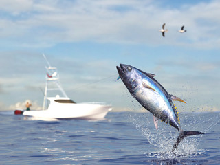 Big game fishing time, big tuna fish jumped hooked by sport fishing angler, big game fish boat 3d render