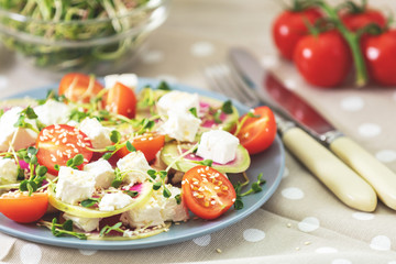 Healthy delicious tasty salad with tomatoes, radishes, cheeses, sprouts and sesame in plate on light wooden table