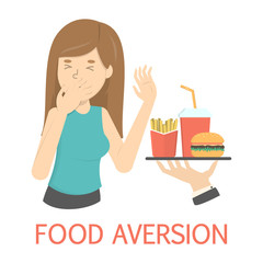 Woman with food aversion or eating disorder