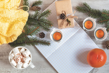 Autumn winter Christmas beautiful background, cozy home concept