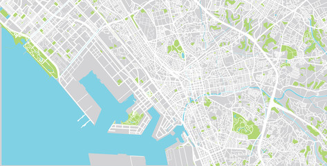 Urban vector city map of Chiba, Japan