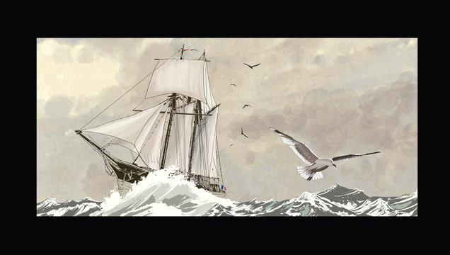 Old sailing ship on a rough sea