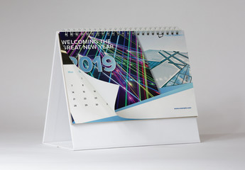 2019 Desk Calendar Layout with Blue Accents