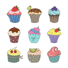 Set of hand drawn cupcakes on white background.