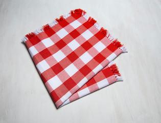 cloth napkin on white wooden background