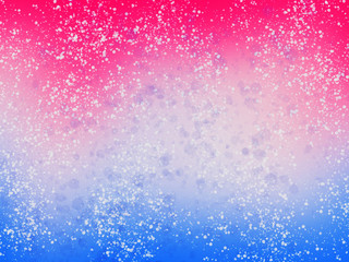 Blue and pink background with white splashes and glitter. Winter abstract wallpaper, illustration. Unicorn party theme. Hand Drawn