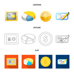 Vector illustration of bank and money logo. Collection of bank and bill stock vector illustration.