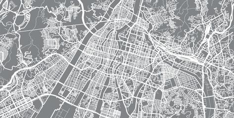 Urban vector city map of Hiroshima, Japan