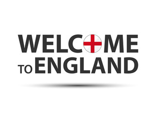 Welcome to England symbol with English flag, simple modern English icon isolated on white background, vector illustration
