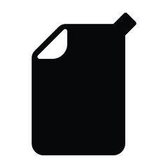 A black and white vector silhouette of a jerry can