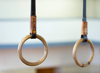 Gymnastic ring hanging in gym. healthy lifestyle and fitness concept