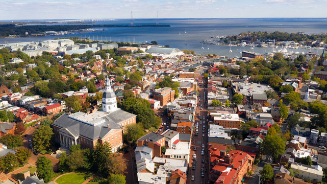 Aerial Panoramic View Annapolis Maryland State House Capital City