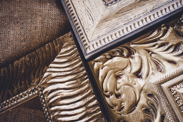 Corners of wooden picture frames.