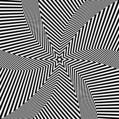 Abstract op art design. Star shape pattern. Lines texture.