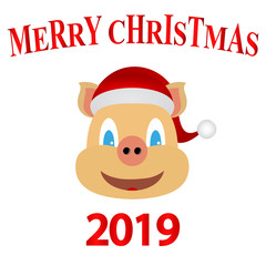Symbol of 2019 yellow earth pig, new year card
