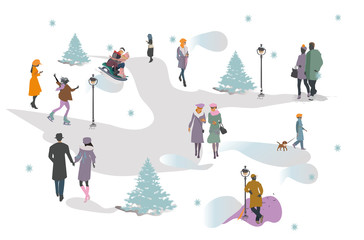 Set of people having rest in the park in winter.  Active leisure outdoor activities. Colorful vector illustration.