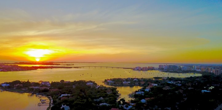 Aerial panoramic of downtown Sarasota, Florida and surrounding keys