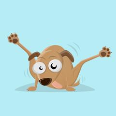 funny cartoon dog licking his back