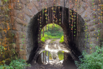 Beautiful stone old tunnel close up