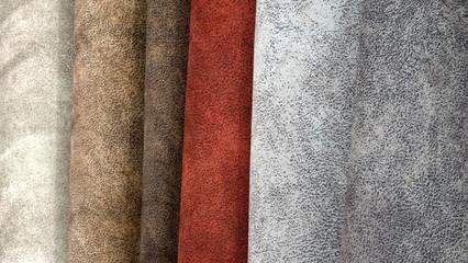 Textile materials variety shades of colors horizontal