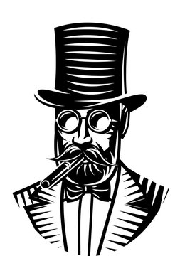 Vector monochrome illustration of a gentleman and top hat for the club