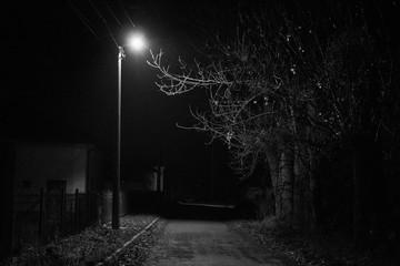 Lonely lantern at night
