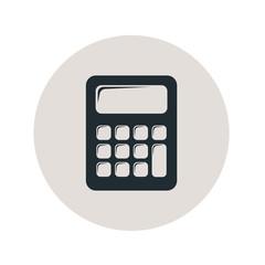 Icono plano calculadora en círculo gris