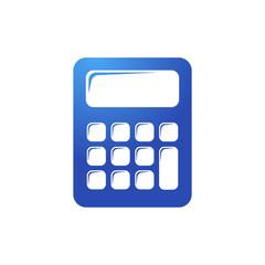 Icono plano calculadora en color azul