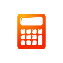 Icono plano calculadora en color naranja