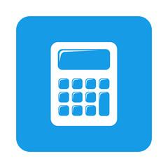 Icono plano calculadora en cuadrado azul