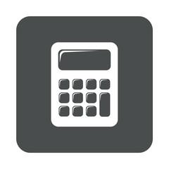 Icono plano calculadora en cuadrado gris