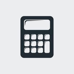 Icono plano calculadora en fondo gris