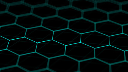 Abstract technology background. Futuristic hexagon background. Big data visualization. 3D rendering.