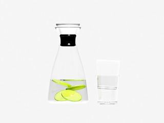 3d render glass bottle and lemon slices