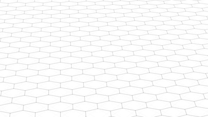 Abstract white futuristic background. Background with hexagons. Connecting dots and lines on white background. 4k rendering.