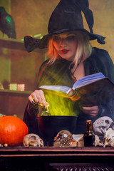 Picture of witch blonde in black hat with book potting potion in pot