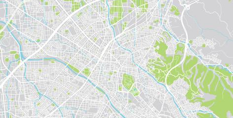 Urban vector city map of Kanazawa, Japan