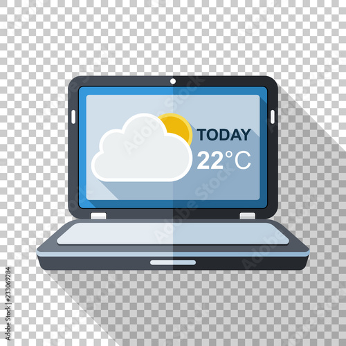 Laptop icon in flat style with weather widget on the screen and long