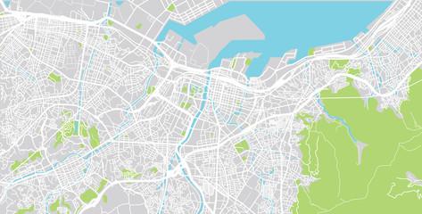 Urban vector city map of Kitakyushu, Japan