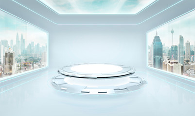 Futuristic pure white interior design of modern showroom with large windows and city urban landscape . Mixed media .