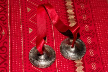 Karatalas. Indian percussion musical instrument.