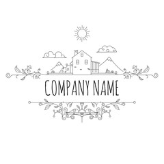 Farm House concept logo. Template with village house landscape. Label for natural farm products. Black logotype isolated on white background. Vector illustration.