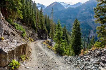 Mountain Road - An autumn day on a scenic but treacherous 4X4 trail - Black Bear Pass route, located between top of Red Mountain Pass on U.S. Highway 550 and Telluride, in San Juan Mountains, CO, USA.