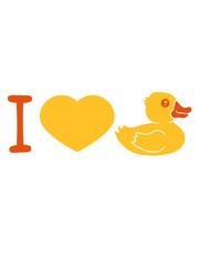 herz liebe i love quietscheente gummiente badeente ente gans vogel baby kind klein süß niedlich comic cartoon clipart design