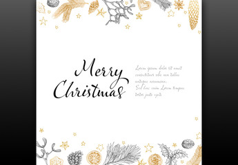 Christmas Card Layout with Illustrations